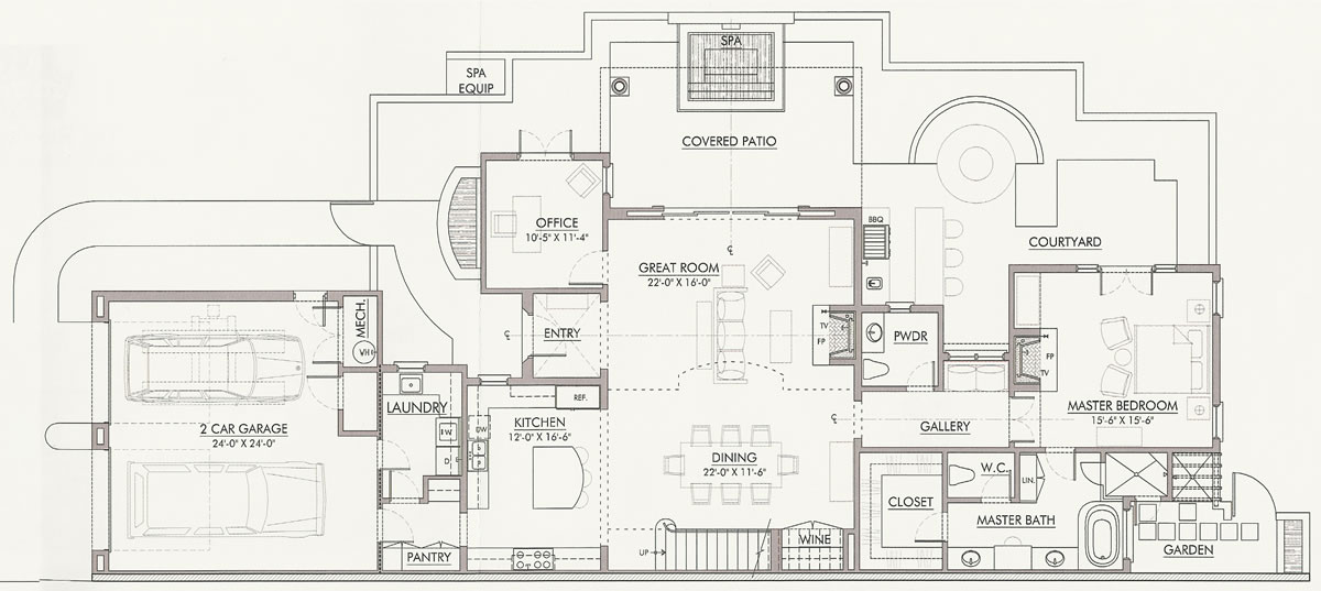 First Level Floor Plan, Villa Alhambra