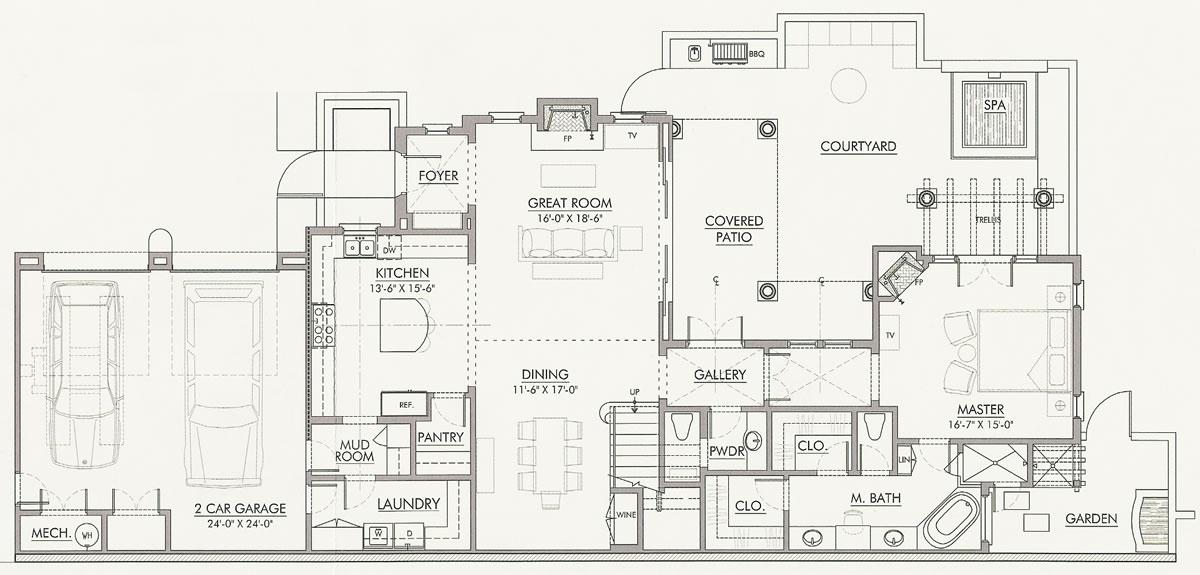 First Level Floor Plan, Villa Seville