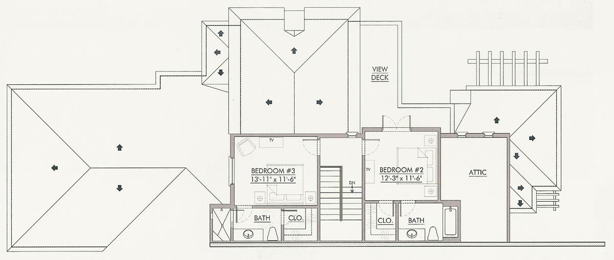 Second Level Floor Plan, Villa Seville